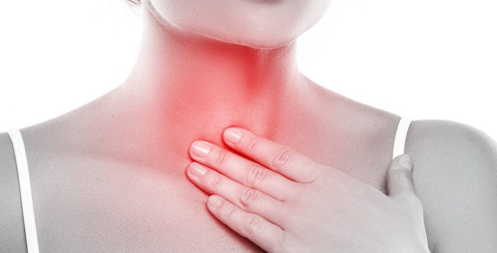 Woman With A Pain In Her Throat